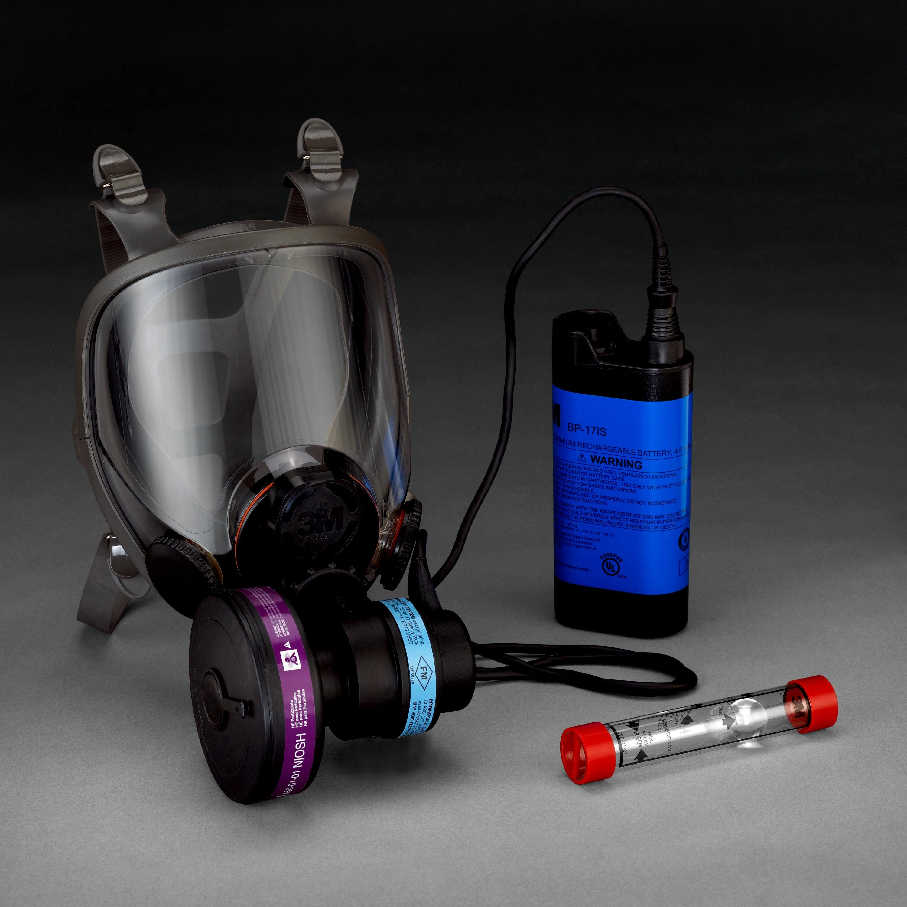 3M™ 6900PF Lightweight Powered Air Purifying Respirator System, L, HEPA Filters and Cartridges, Rechargeable Ni-Cd Battery, ANSI Z87.1-2003, OSHA-29 CFR 1910.134, CSA Z94.4