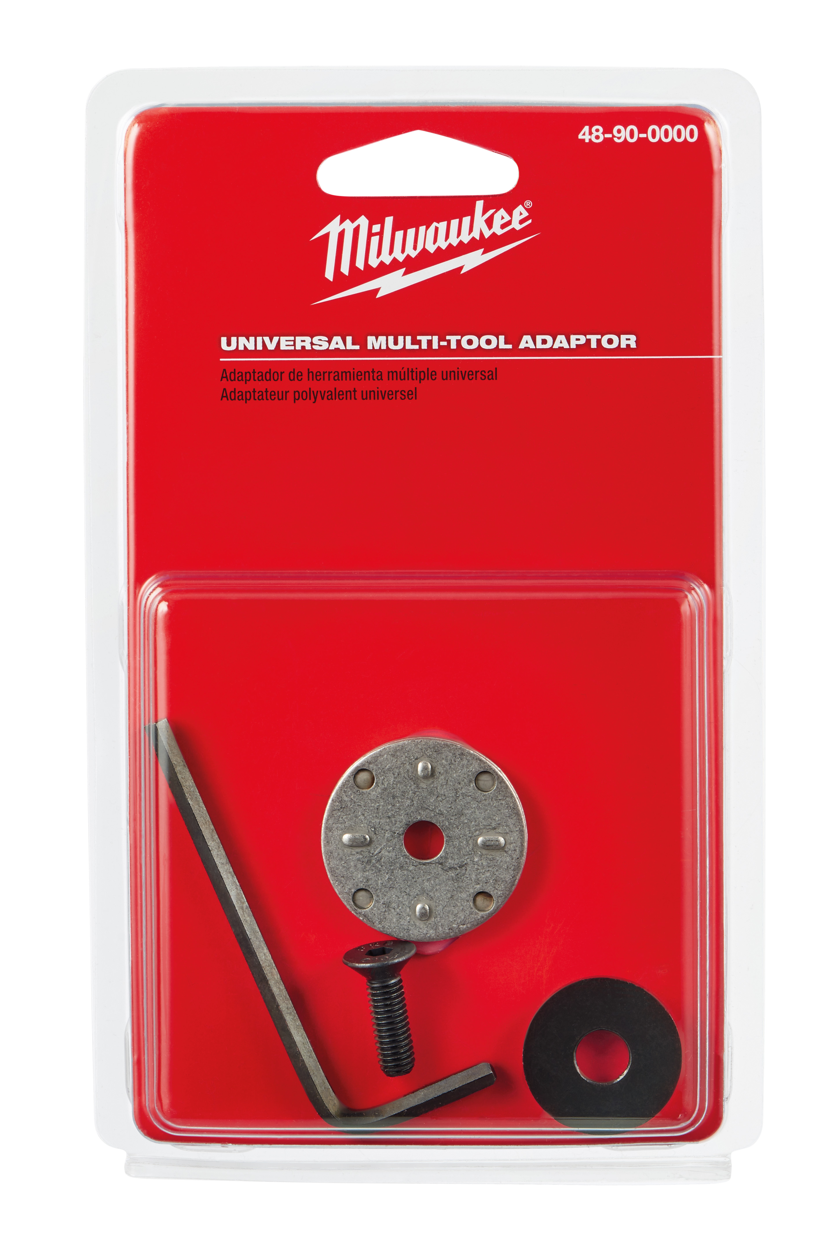Milwaukee® M18™ 48-90-0000 Universal Multi-Tool Blade Adapter, For Use With Oscillating Tool, Porter Cable, Black and Decker and DeWalt® Brand Multi-Tool, 1/4 in ID x 3-1/4 in OD x 1/8 in THK, Steel