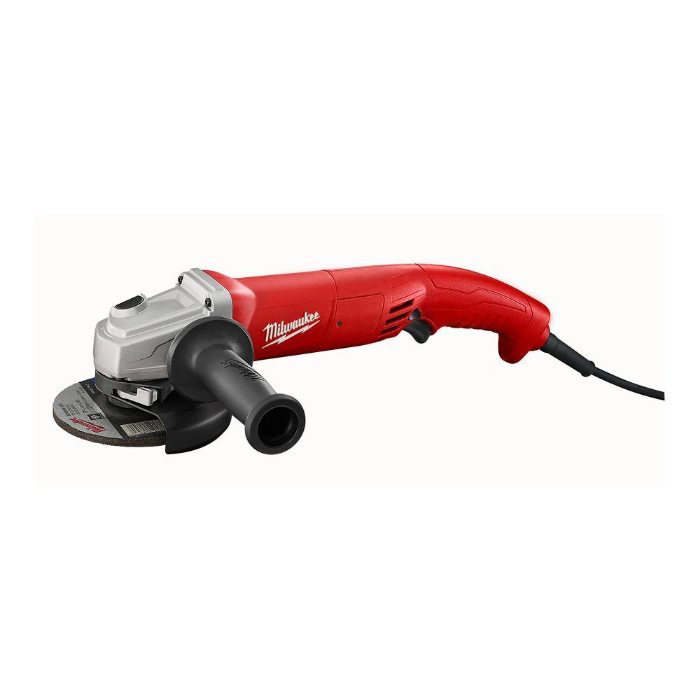 Milwaukee® 6121-31A Double Insulated Small Angle Grinder, 5 in Dia Wheel, 5/8-11 Arbor/Shank, 120 VAC, Black/Red/Silver