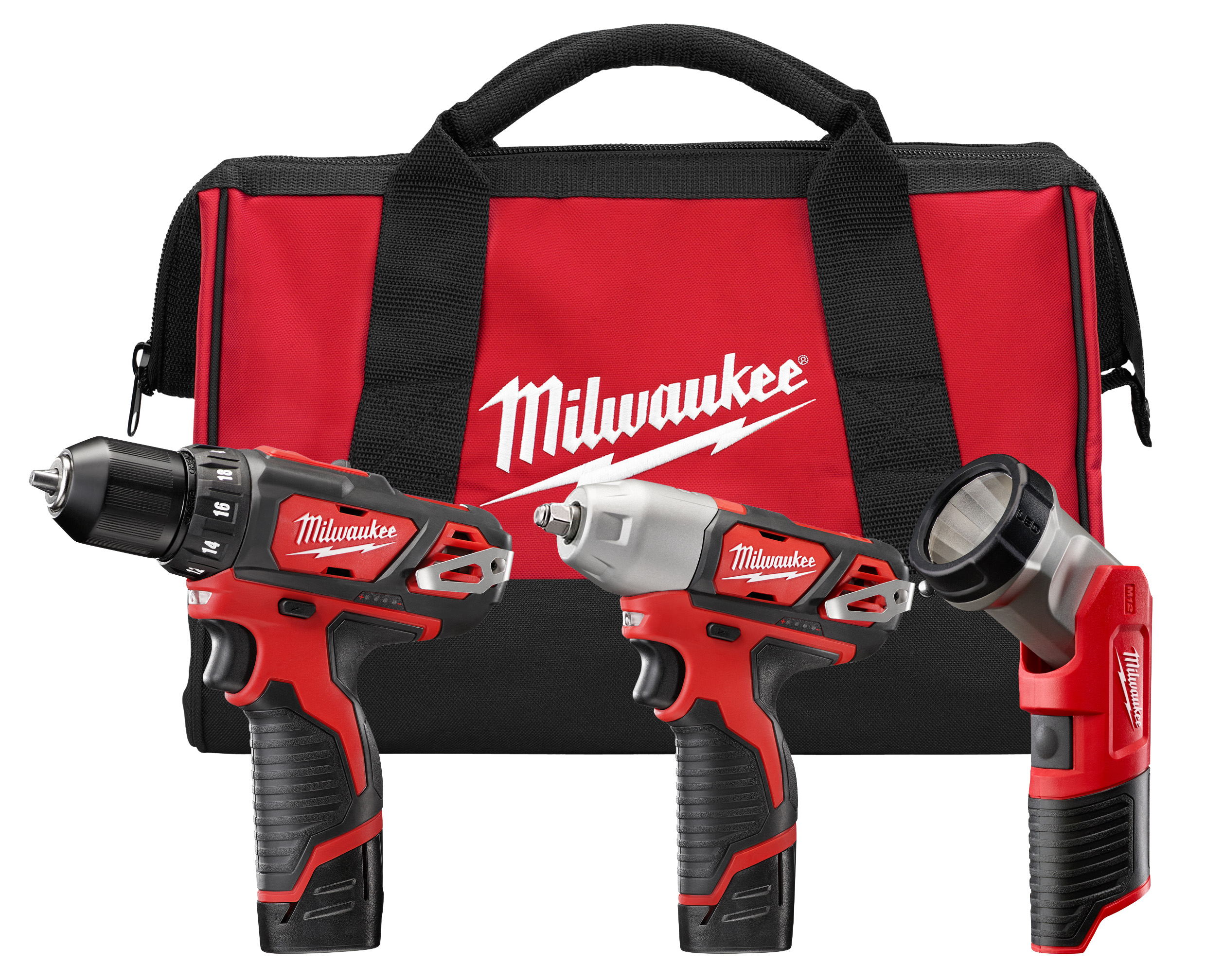 Milwaukee® M12™ 2493-23 3-Tool Cordless Combination Kit, Tools: Drill Driver, Impact Wrench, 12 VDC, 1.5 Ah Lithium-Ion, Keyless Blade