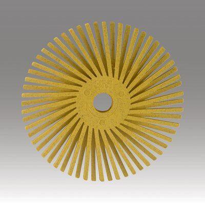 3M™ Scotch-Brite™ 24277 Quick-Change Radial Bristle Disc Brush, 3 in Dia Brush, No Hole Arbor Hole, 80 Grit, Medium Grade, Ceramic Fill