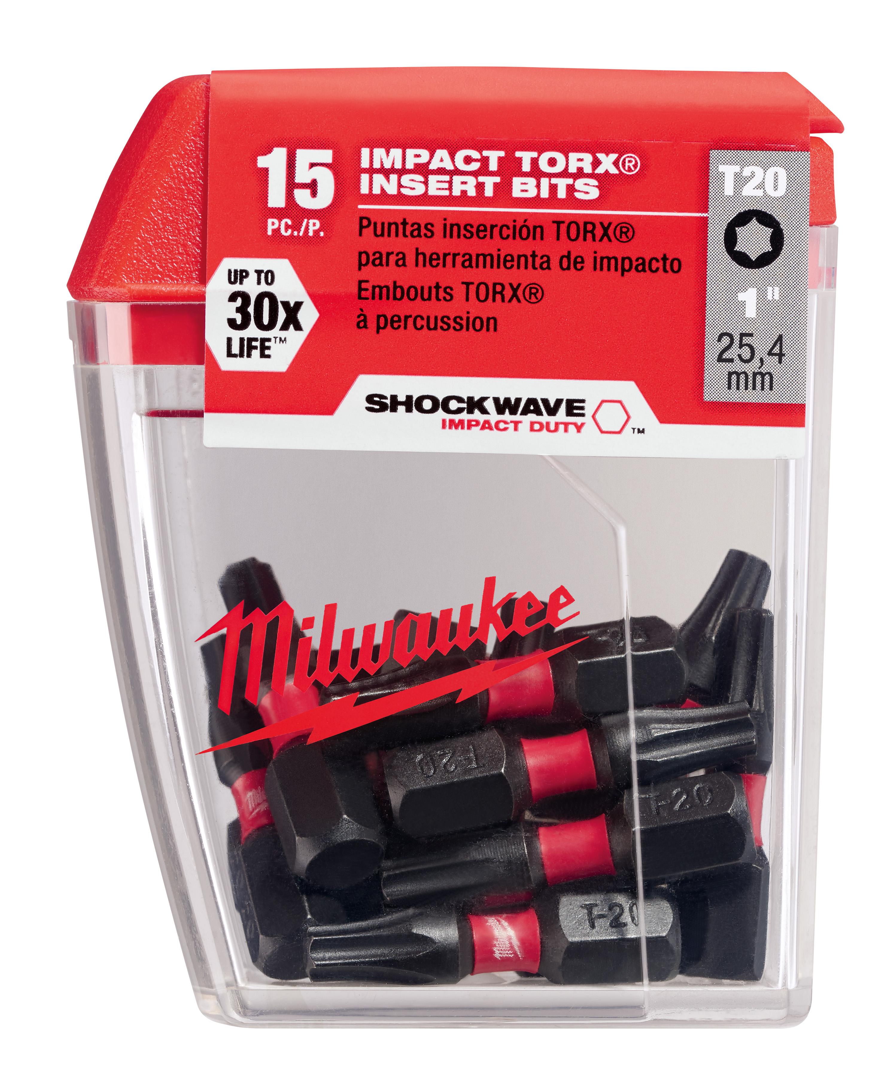 Milwaukee® SHOCKWAVE™ 48-32-5011 Single Ended Impact Insert Bit, T20 Torx® Point, 1 in OAL, 1/4 in, Steel