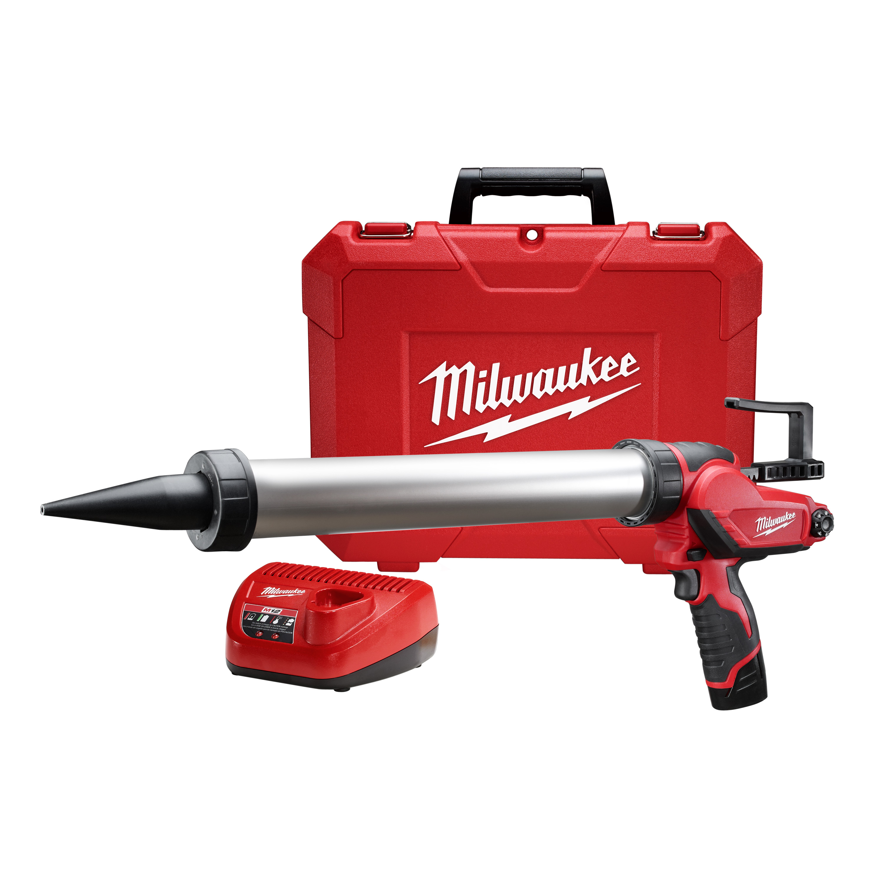 Milwaukee® M12™ 2442-21 Compact Cordless Caulk Gun Kit, 20 oz Capacity, 400 lb, 12 VDC, Lithium-Ion Battery, Metal Housing