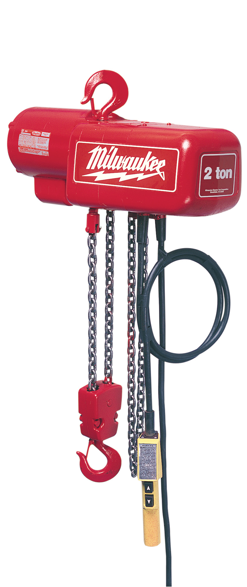 Milwaukee® 9573 1-Phase Lightweight Electric Chain Hoist, 2 ton Load, 20 ft H Lifting, 1 hp Power Rating, 115 to 230 VAC