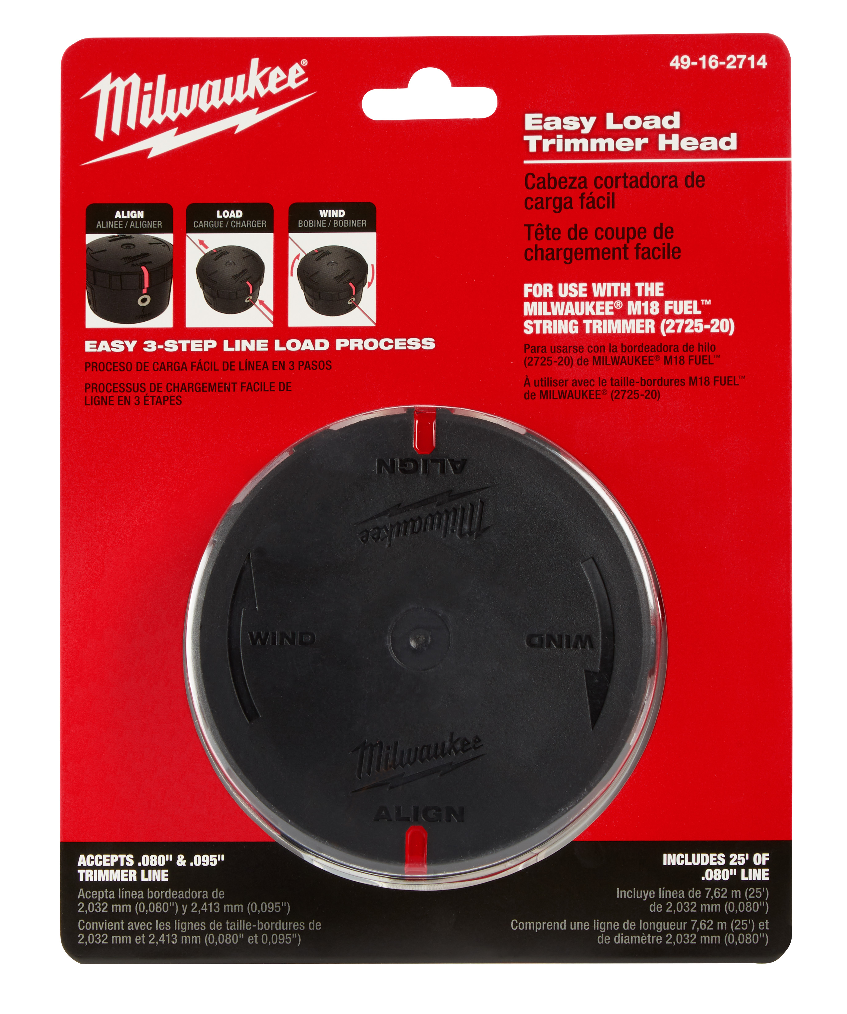Milwaukee® 49-16-2714 Easy Load Trimmer Head, For Use With Milwaukee® (2725-20) M18 FUEL™ String Trimmer, Plastic, Black