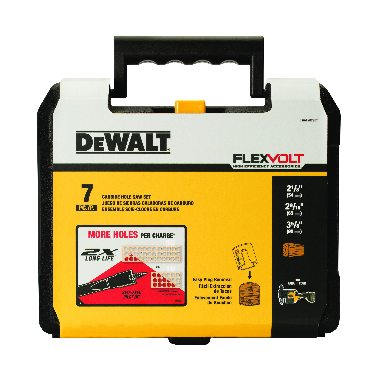 DeWALT® DWAFV07SET FLEXVOLT® Hole Saw Kit, 7 Pieces, Carbide