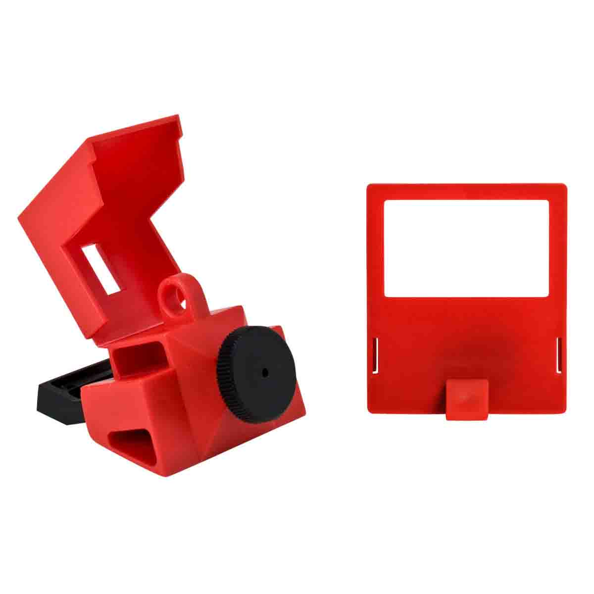 Brady® 65397 1-Pole Clamp-On Circuit Breaker Switch Lockout Device, For Use With 480/600 VAC Single Pole and Internal-Trip Multi-Pole Breaker, 1 Padlocks, 0.31 in Dia Max Padlock Shackle, LOTO-2 Polypropylene, Red