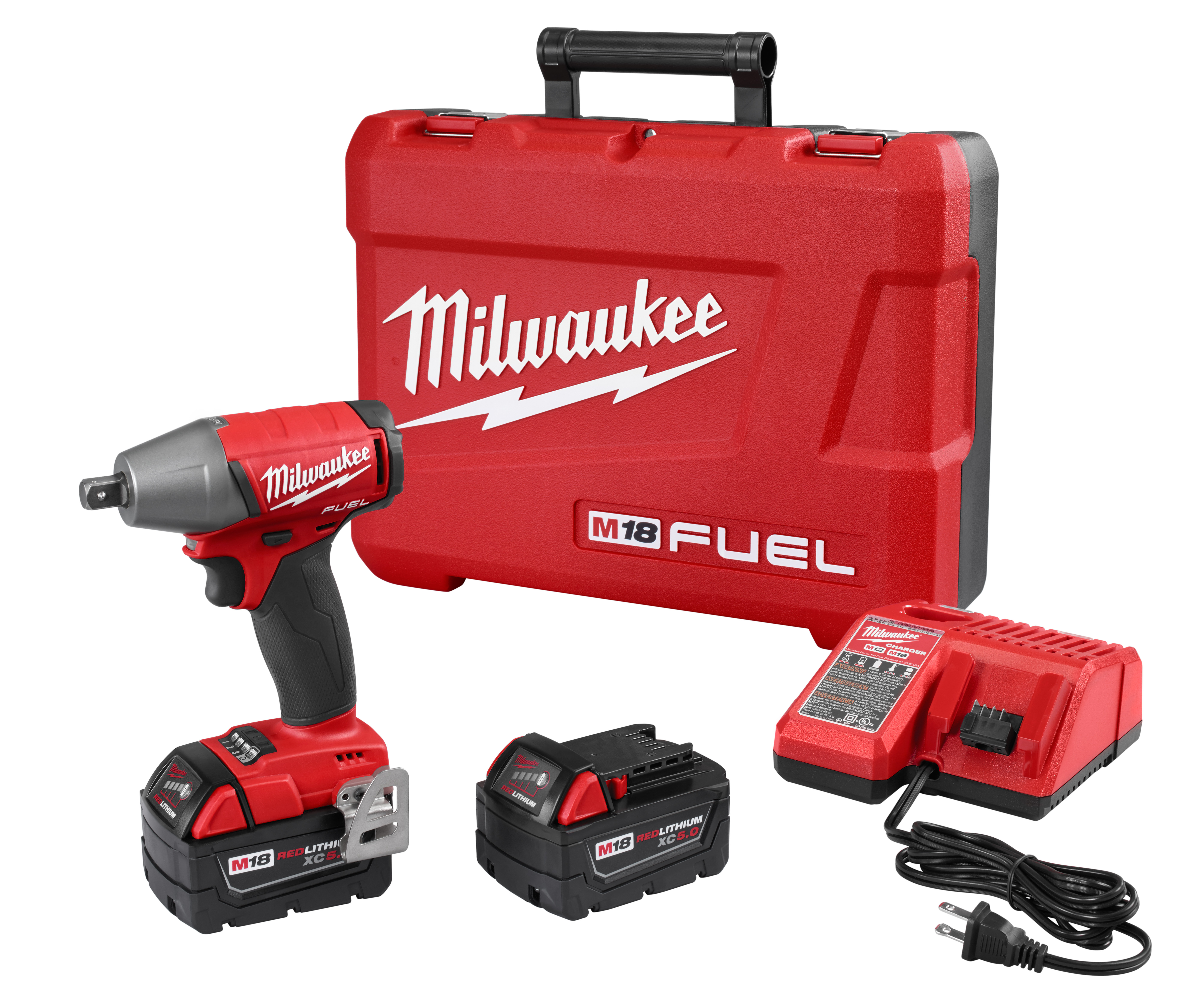 Milwaukee® M18™ FUEL™ 2755-22 Brushless Compact Impact Wrench Kit With Pin Detent, 1/2 in Straight Drive, 0 to 3200 bpm, 220 ft-lb Torque, 18 VDC, 6.1 in OAL