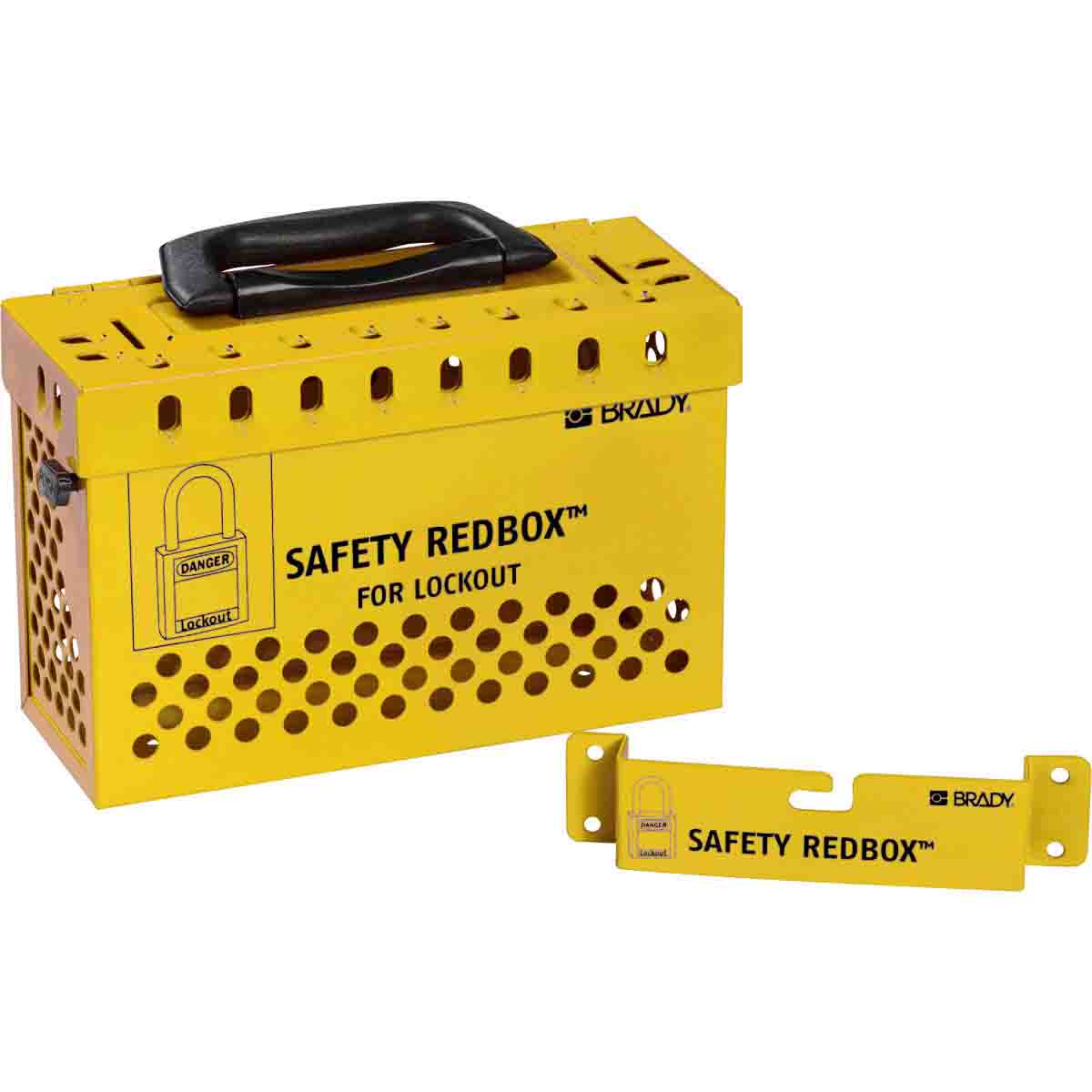 Brady® Safety Redbox® 145580 Empty Portable Group Lockout Box, 12 Padlocks, Steel Door, Yellow, 6.1 in H x 9.3 in W x 3.6 in D, Wall Mount, 12 Key Hooks