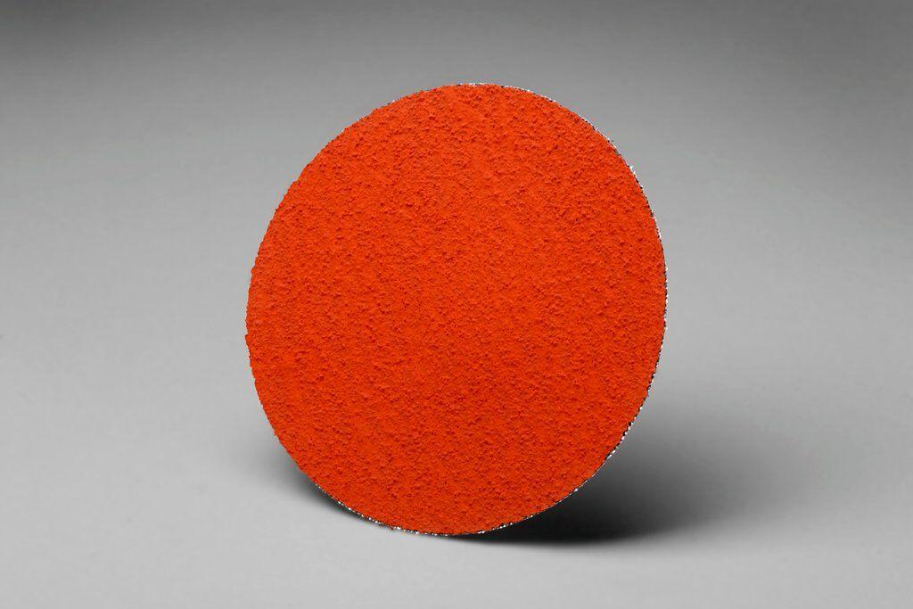 3M™ 76634 777F Close Coated Abrasive Disc, 3 in Dia Disc, 80 Grit, Medium Grade, Ceramic Abrasive, Type TR Attachment