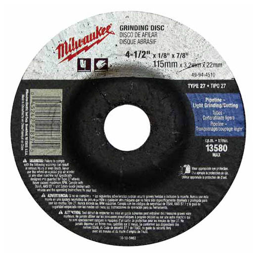 Milwaukee® 49-94-4520 Type 27 Reinforced Grinding Disc, 4-1/2 in Dia x 1/4 in THK, 7/8 in Center Hole, 24 Grit, Aluminum Oxide Abrasive