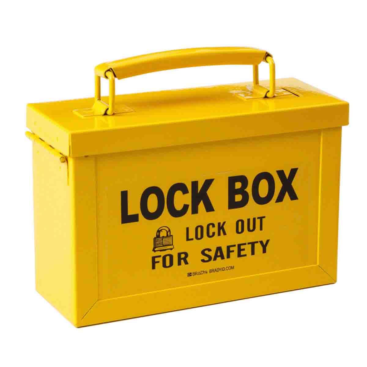 Brady® 65672 Empty Heavy Duty Portable Lockout Box, 1 Padlocks, Hinged Door, Black on Yellow, 5.9 in H x 3-1/2 in W x 9.1 in D, 12 Key Hooks
