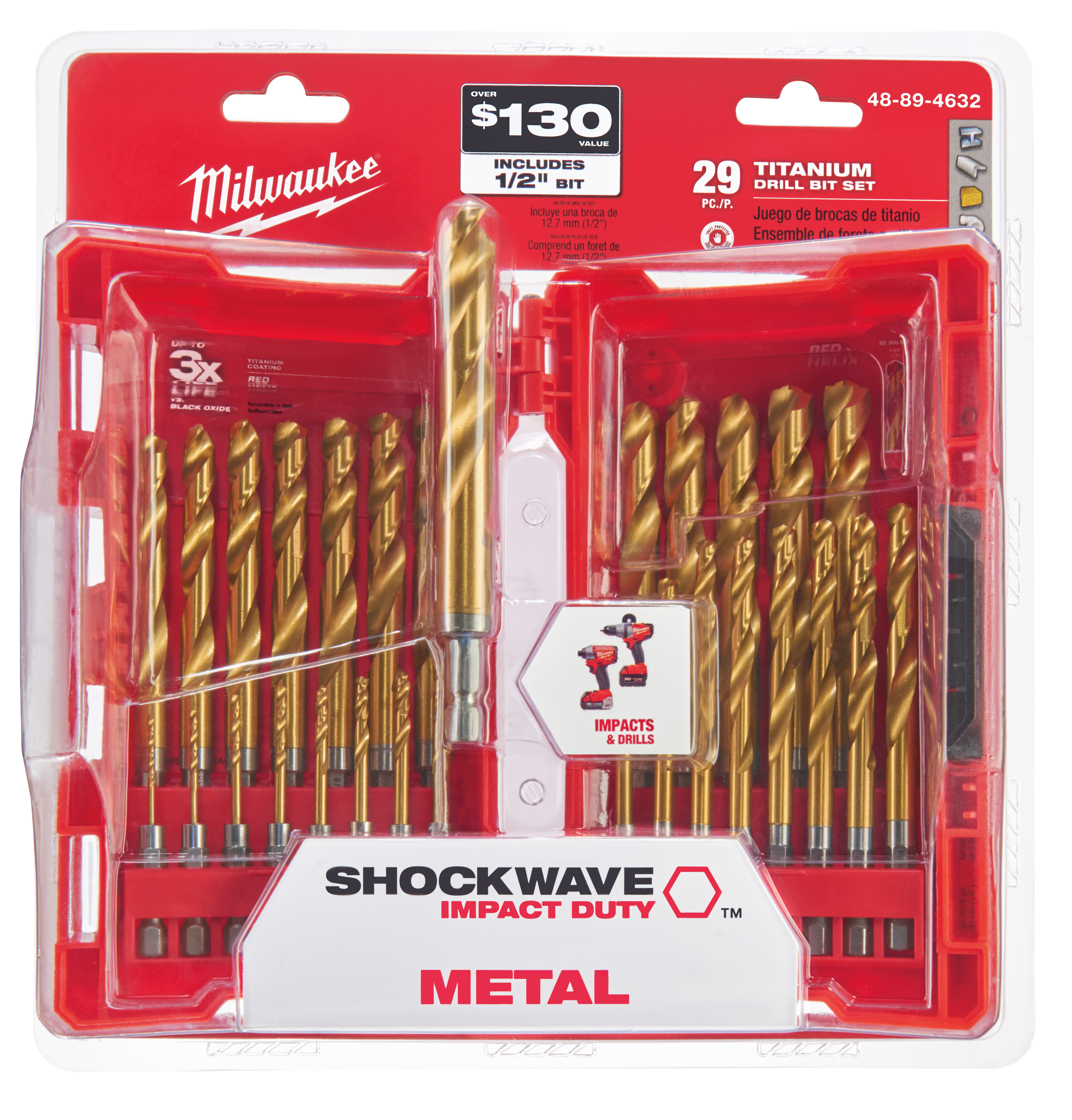 Milwaukee® 48-89-4632 SHOCKWAVE™ RED HELIX™ Impact Duty Drill Bit Kit, 29 Pieces, For Use With All Drill, HSS, Titanium Coated