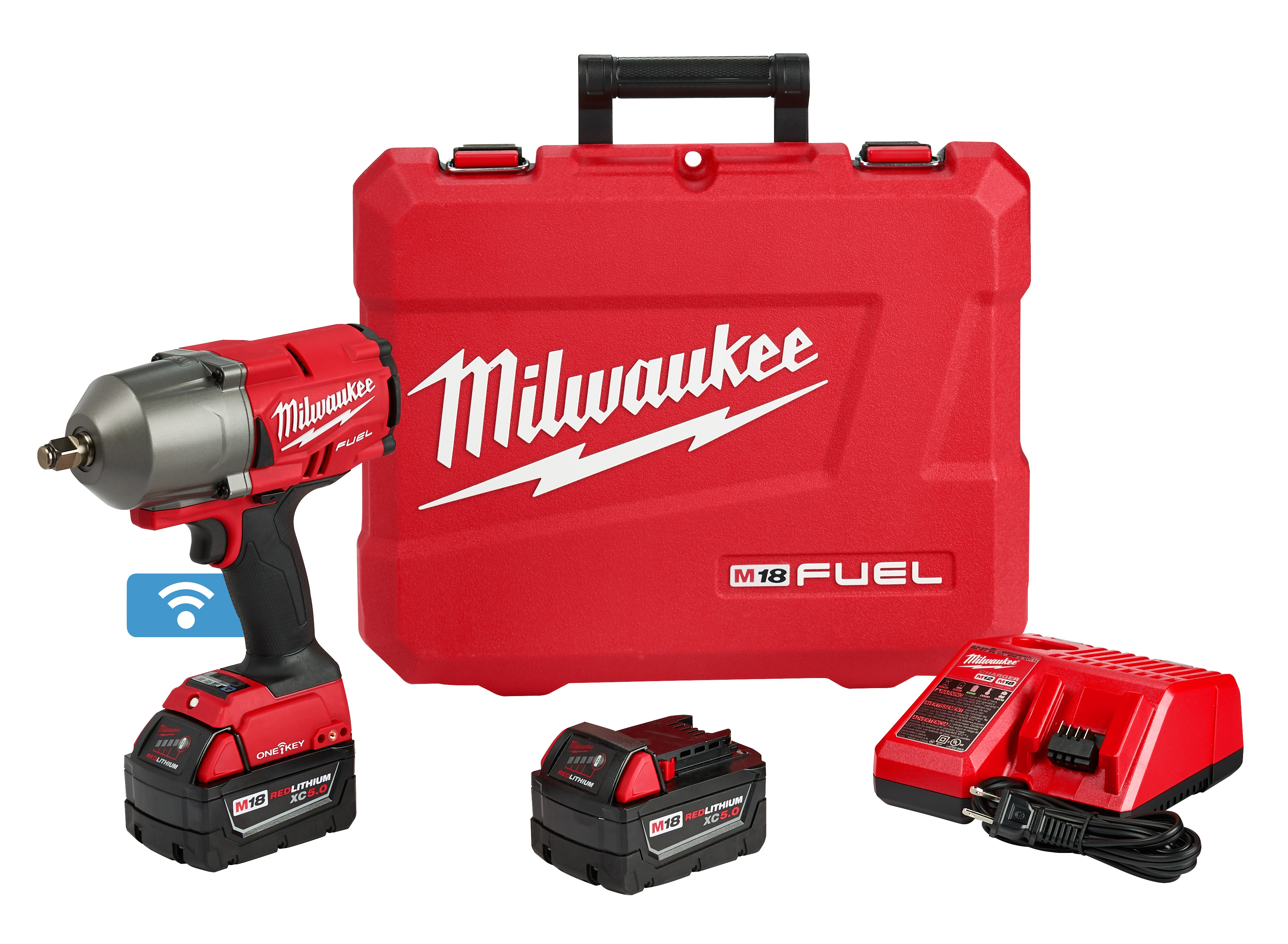 Milwaukee® M18™ FUEL™ ONE-KEY® 2863-22 Cordless High Torque Impact Wrench, 1/2 in 4-Mode Straight Drive, 2100 bpm, 1000/1400 ft-lb Torque, 18 VDC, 8.39 in OAL