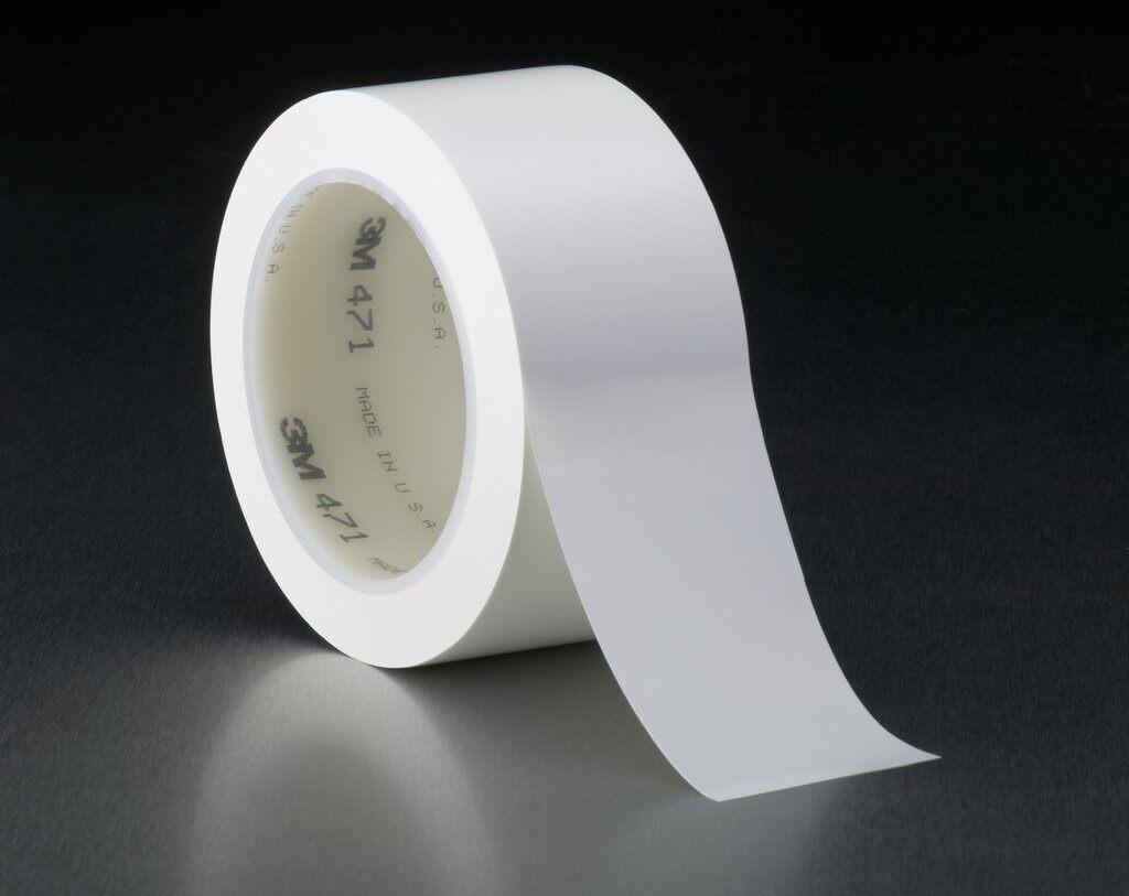 "3M™ 471-White-1""x36yd-Bulk High Performance Vinyl Tape, 36 yd L x 1 in W, 5.2 mil THK, Rubber Adhesive, Vinyl Backing, White"
