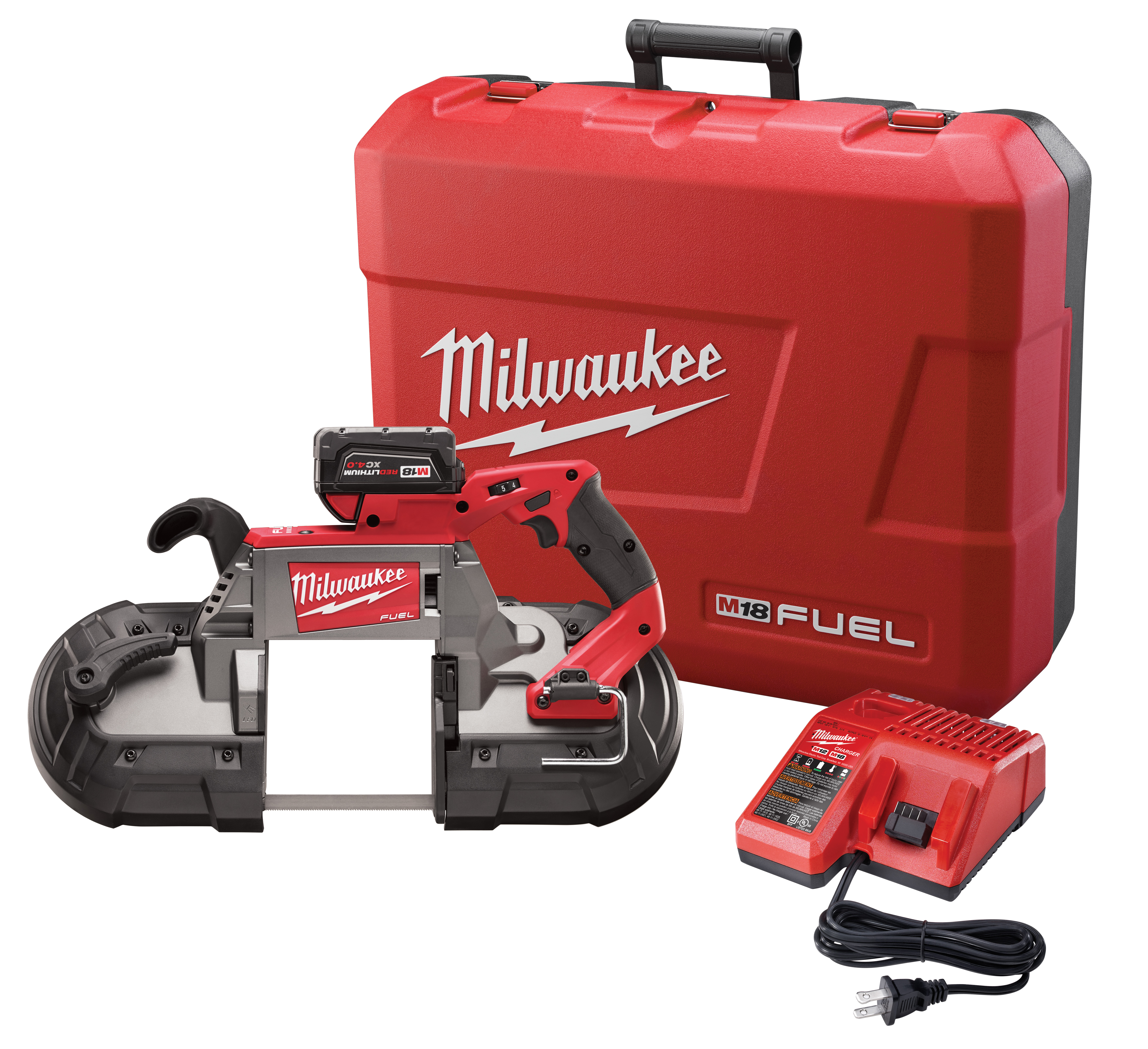 Milwaukee® M18™ FUEL™ 2729-21 Cordless Band Saw Kit, 5 in Cutting, 44.875 in L x 0.5 in W x 0.02 in THK Blade, 18 VDC, 5 Ah Lithium-Ion Battery