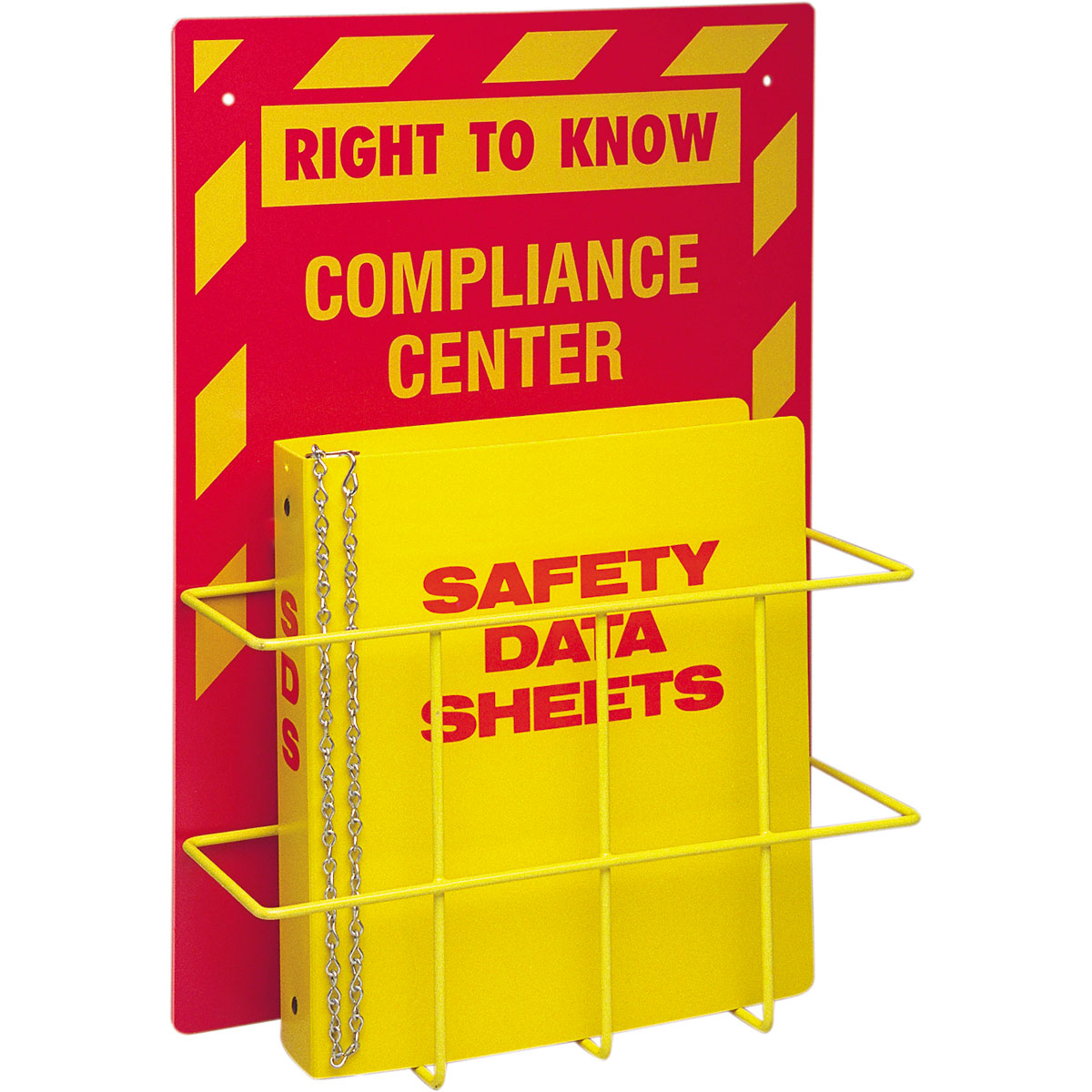 Brady® Prinzing® 2010 Right-To-Know Compliance Center With SDS Binder, RIGHT TO KNOW COMPLIANCE CENTER Legend, English, Yellow on Red, 20 in H x 14 in W, Polystyrene, Wall Mount