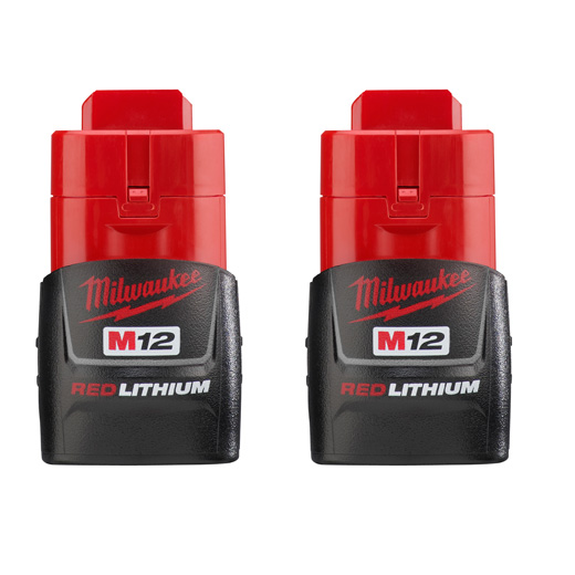 Milwaukee® M12™ 48-11-2411 Compact Rechargeable Cordless Battery Pack, 1.5 Ah Lithium-Ion Battery, 12 VDC Charge, For Use With Milwaukee® M12™ Cordless Power Tool