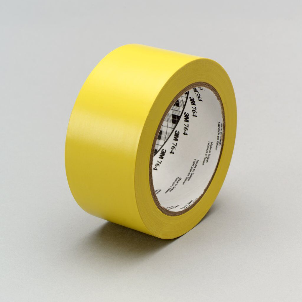 "3M™ 764-3""x36yd-Yellow General Purpose Vinyl Tape, 36 yd L x 3 in W, 5 mil THK, Rubber Adhesive, PVC Backing, Yellow"