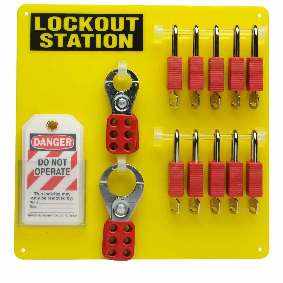 Brady® 51187 Padlock Center Lock Board, Filled, 26 Pieces, 10 Padlocks, 13-1/2 in H x 13-1/2 in W x 3/16 in D, Wall Mount, Language: English
