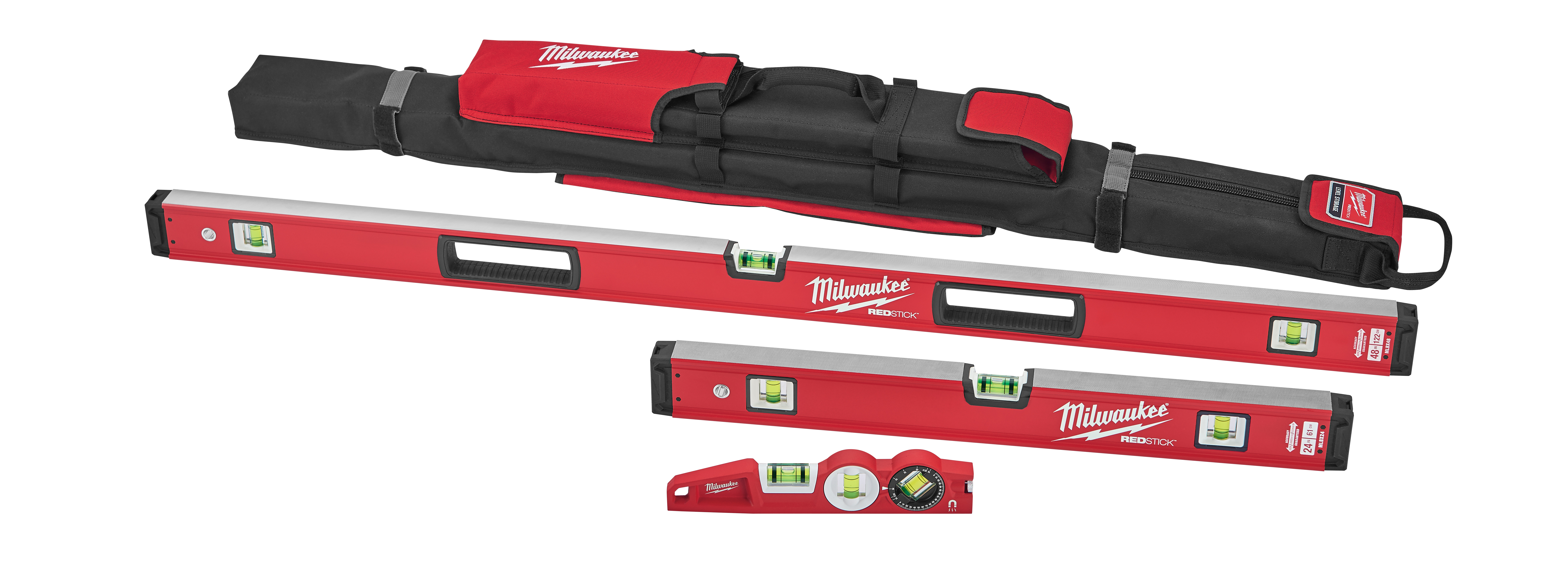 Milwaukee® MLBXC48 Level Starter Set, 10 in, 24 in, 48 in L, 3 Vials, Aluminum, (1) Level, (2) Plumb Vial Position, 0.0005 in Accuracy