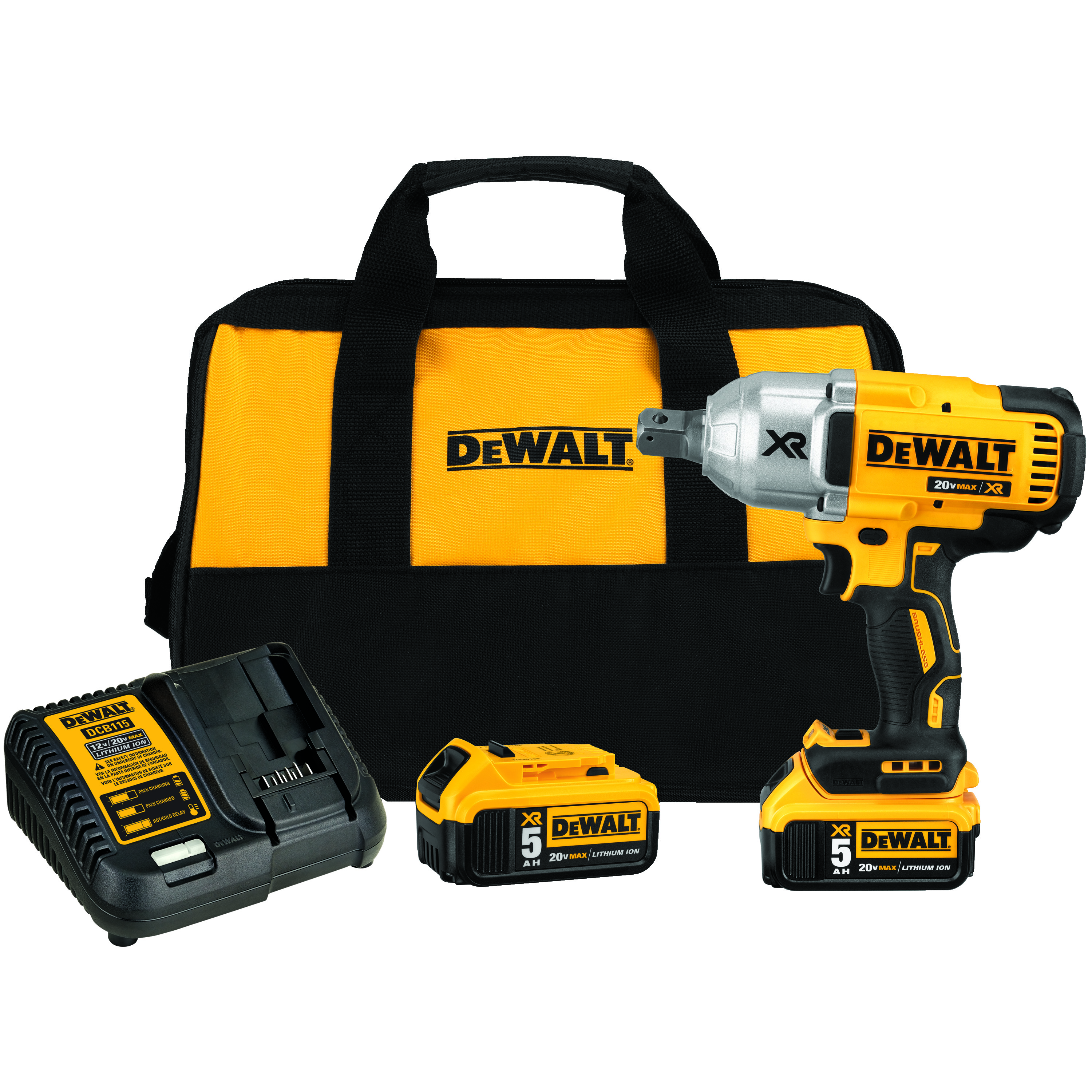 DeWALT® 20V MAX* MATRIX™ DCF897P2 Compact Cordless Impact Wrench Kit, 3/4 in Straight Drive, 1200 ft-lb Torque, 20 VDC, 8.81 in OAL