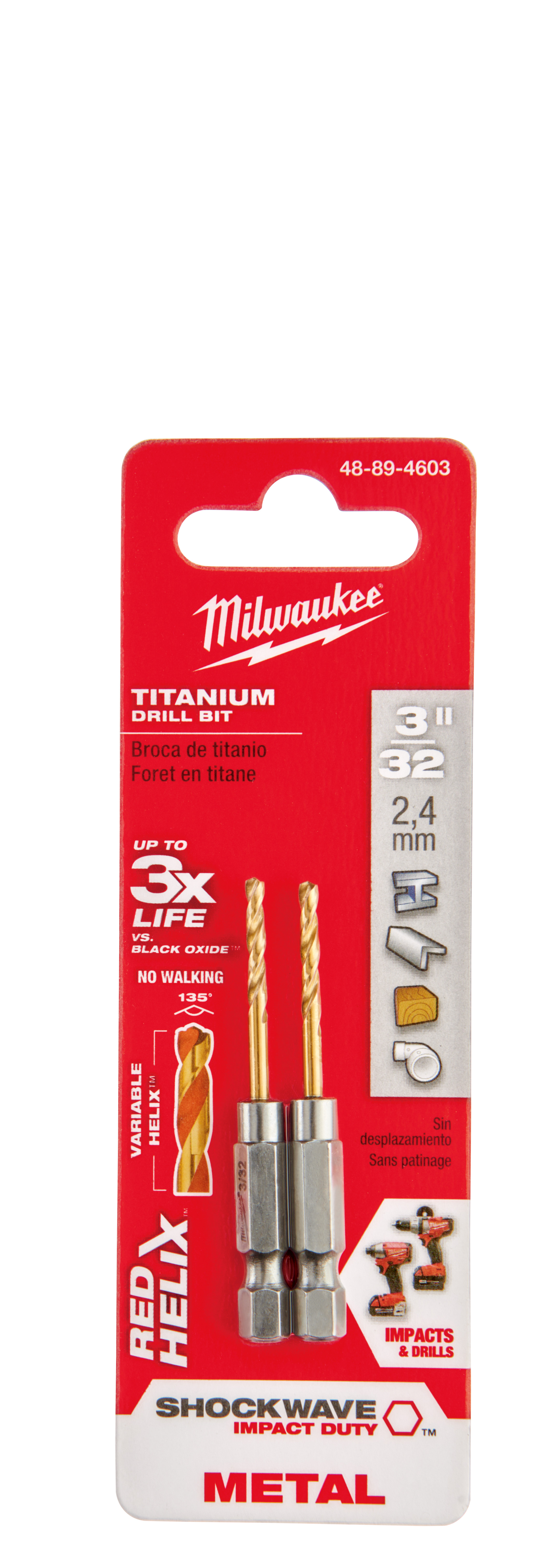 Milwaukee® SHOCKWAVE™ 48-89-4603 Hex Shank Impact Drill Bit, 3/32 in Drill - Fraction, 0.0938 in Drill - Decimal Inch, 47/64 in D Cutting