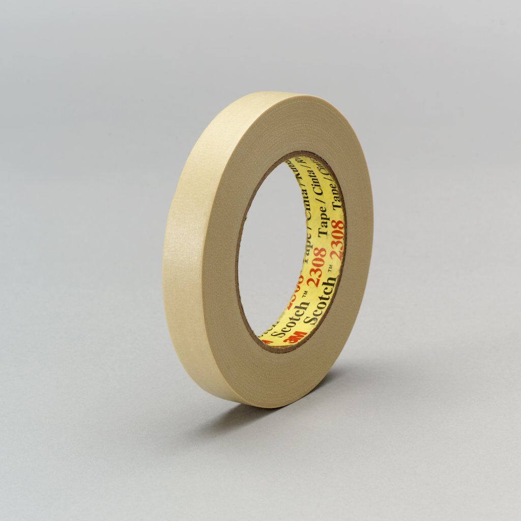 3M™ 2308 General Purpose Masking Tape, 55 m L x 24 mm W, 5.5 mil THK, Natural Rubber Adhesive, Crepe Paper Backing