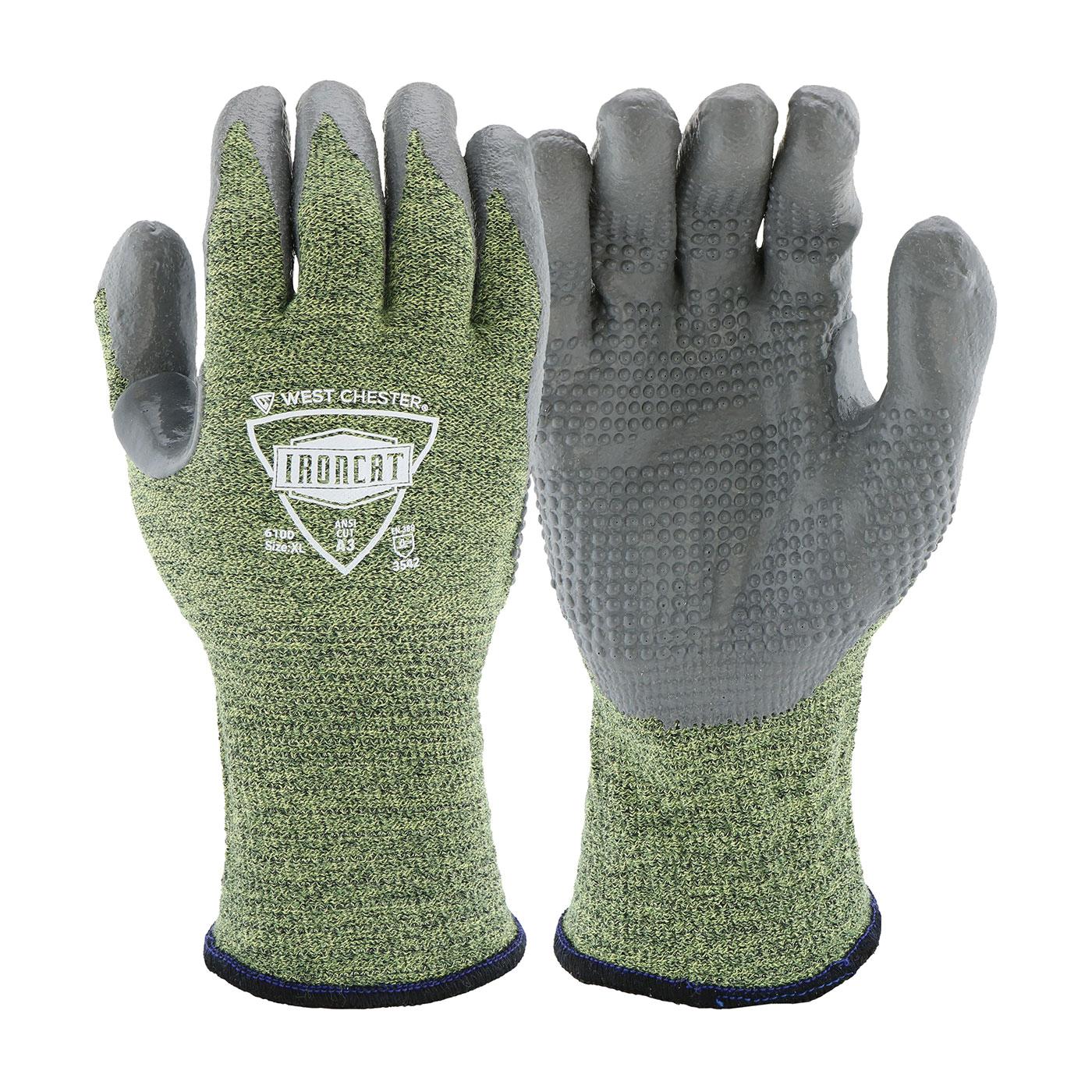 Ironcat® Metal Tamer™ 6100/2XL TIG Welding Gloves, 2XL, Silicone, Gray/Green, Rib Knit Cuff, 12 in L