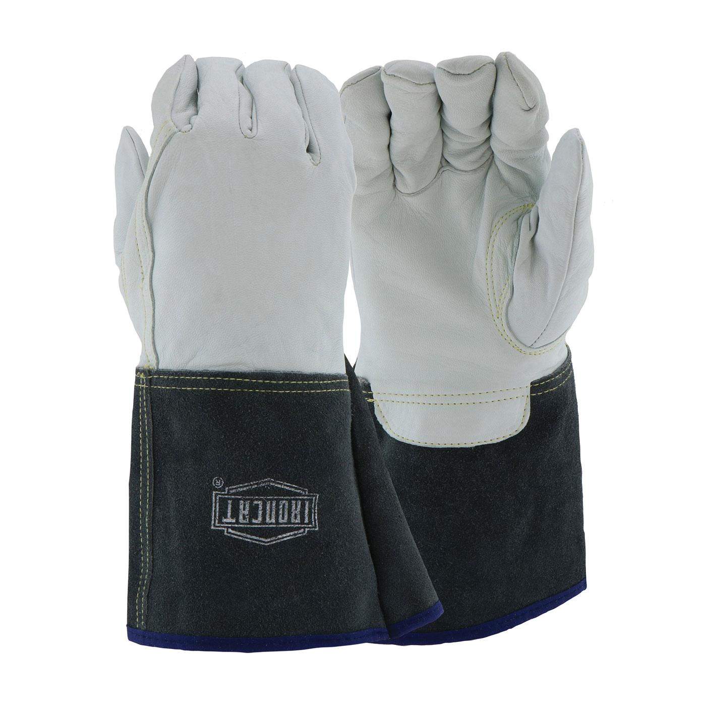 Ironcat® 6144/L Welding Gloves, L, Premium Top Grain Kidskin Leather, Black/White, Kevlar® Lining, Gauntlet Cuff, 13-5/8 in L