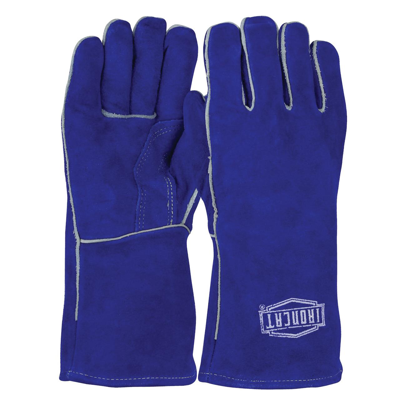 Ironcat® 9041/L Industry Grade Welding Gloves, L, Split Cowhide Leather/Kevlar® Thread, Blue, Cotton/Foam Lining, Gauntlet Cuff, 14 in L