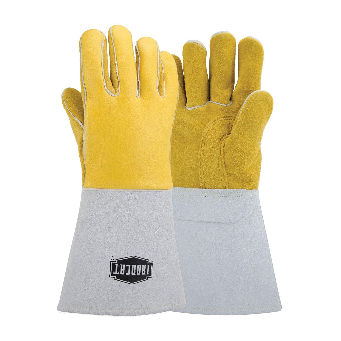 Ironcat® 9060/L Welding Gloves, L, Premium Grain Top Grain Elkskin Leather/Kevlar® Thread, Yellow, Cotton/Foam Lining, Gauntlet Cuff, 14 in L