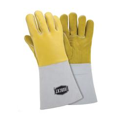 Ironcat® 9060/L Welding Gloves, L, Premium Grain Top Grain Elkskin Leather/Kevlar® Thread, Yellow, Cotton/Foam, Gauntlet Cuff, 14 in L