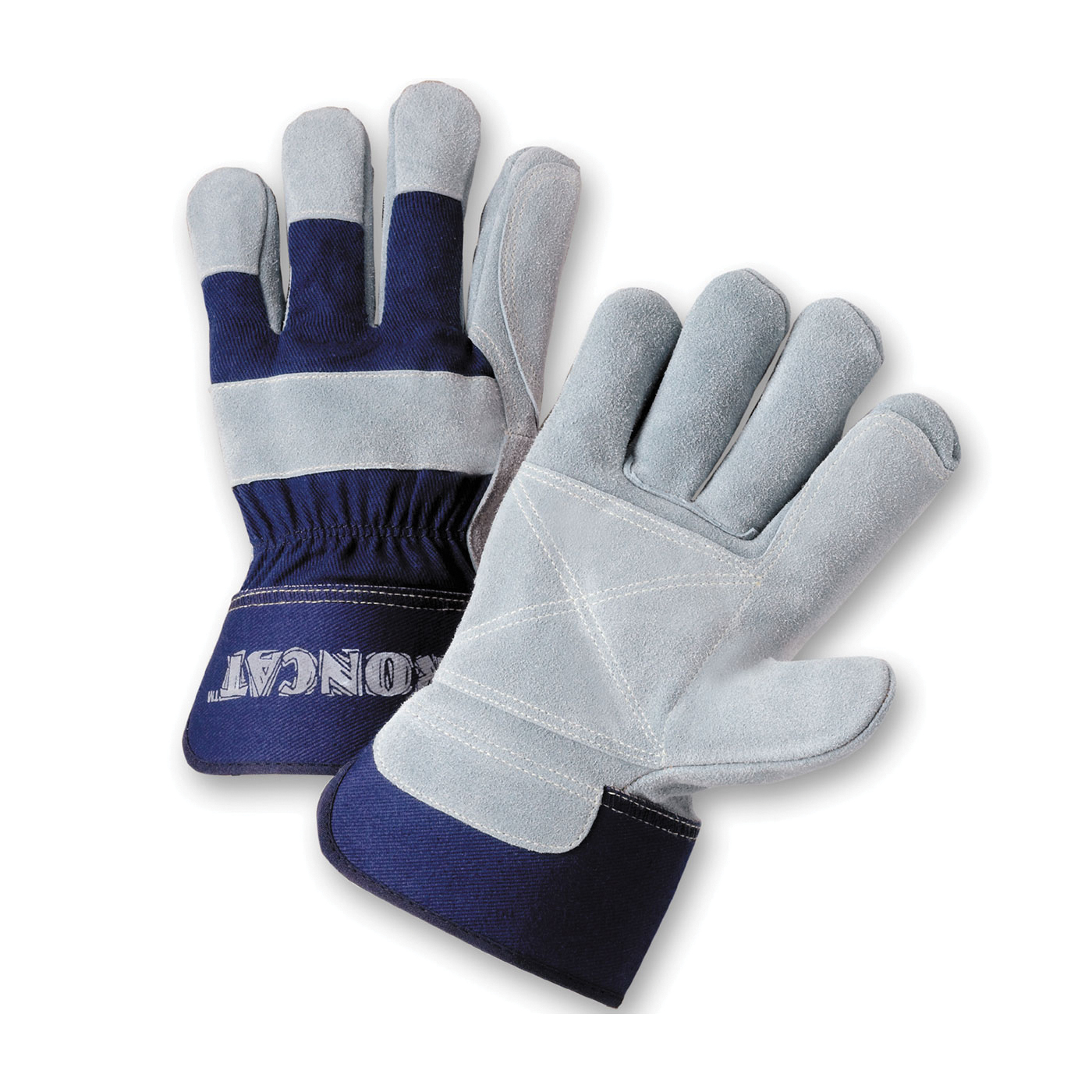 Ironcat® IC5DP/XL Welding Gloves, XL, Canvas/Kevlar®/Split Cowhide Leather, Blue/Gray, Unlined Lining, Rubberized Safety Cuff, 10-7/8 in L