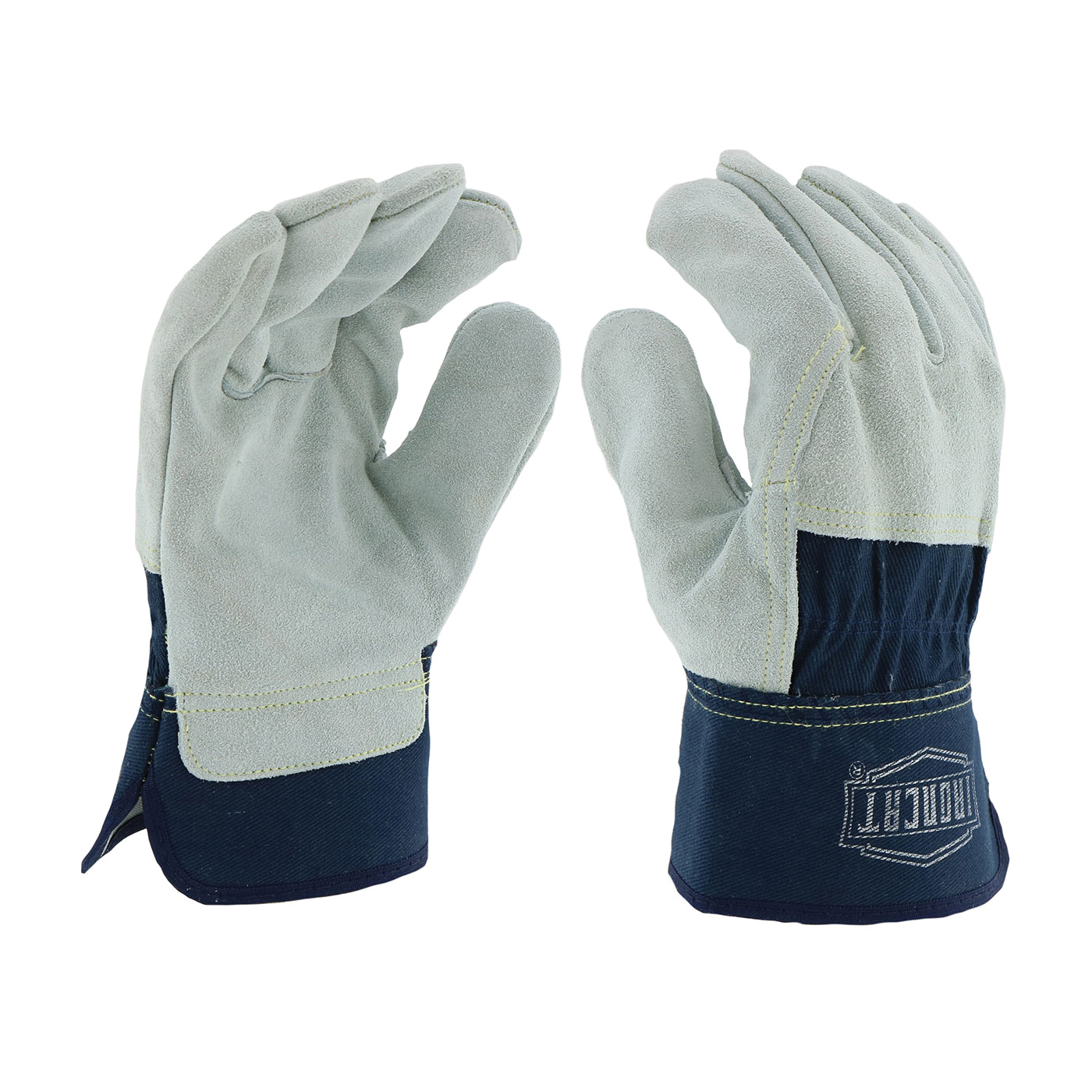 Ironcat® IC65/L Welding Gloves, L, Canvas/Kevlar®/Split Cowhide Leather, Blue/Gray, Cotton Lining, Rubberized Safety/Shirred Elastic Cuff, 10-1/2 in L