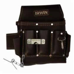 Irwin® 4031007 Soft Sided Electrician's Pouch, 10 Pocket, Oil Tanned Leather, Black
