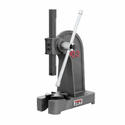 JET® 333620 Single Leverage Arbor Press, 2 ton Capacity, 1-1/4 x 13 in Width/Dia Ram, 10-3/4 in Max Work Width/Dia, 7-7/8 in H Max Work, 6-3/8 x 15-3/4 in Base