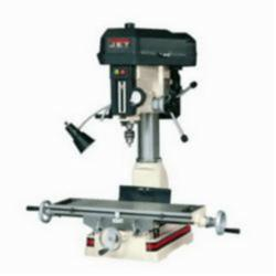 JET® 350017 Mill/Drill Machine, 1 hp, 115/230 VAC, 7-1/2 in L x 23 in W Table, 14 in Longitudinal Travel, Step Pulley Speed Control, R-8 Spindle
