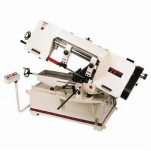 JET® 414474 Horizontal Miter Variable Speed Pulley Band Saw, 8-1/2 in Round, 8-1/2 x 9 in Rectangle 45 deg Capacity, 10 in Round, 10 x 14 in and 2 x 16 in Rectangle 90 deg Capacity, 1-1/2 hp, 115/230 VAC, 18/9 A, 100 to 350 sfpm Speed