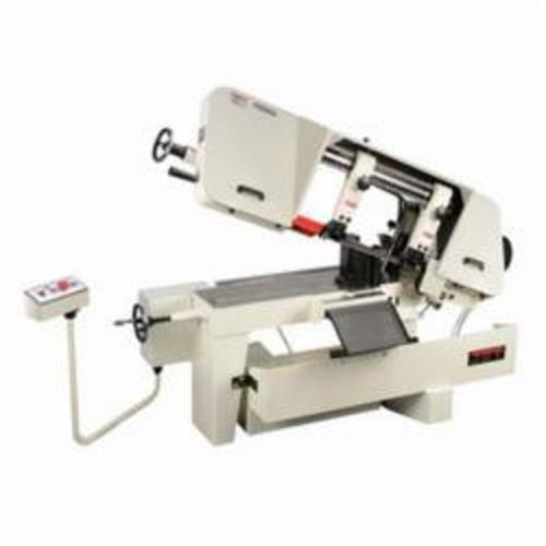 JET® 414478 Horizontal Variable Speed Pulley Band Saw, 10 in Round, 6-1/2 x 11 in Rectangle 45 deg Capacity, 10 in Round, 10 x 10 in and 7 x 16 in Rectangle 90 deg Capacity, 2 hp, 230/460 VAC, 0.333 A, 100 to 350 sfpm Speed