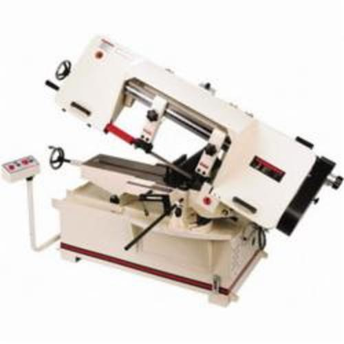 JET® 414499 Horizontal Variable Speed Pulley Band Saw, 9 in Round, 6-1/2 x 11 in Rectangle 45 deg Capacity, 10 in Round, 10 x 10 in and 7 x 16 in Rectangle 90 deg Capacity, 2 hp, 460 VAC, 0.166 A, 100 to 350 sfpm Speed