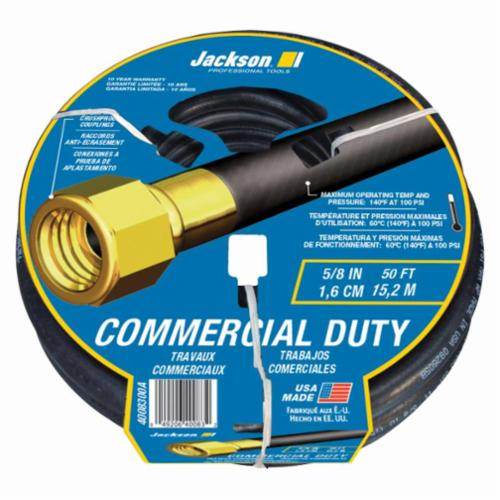 Jackson® 4008300A Heavy Duty Commercial Duty Hose, 5/8 in Nominal, 50 ft L, 100 psi Working, Brass/Rubber, Import