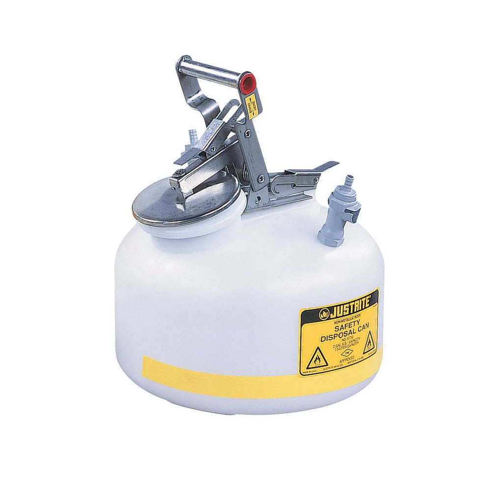 Justrite® 05910 Biohazard Waste Can, 6 gal Capacity, 15.866 in Dia, 15-7/8 in H, Galvanized Steel, White, FM Approved, TUV Approved, OSHA 29 CFR 1910.1030