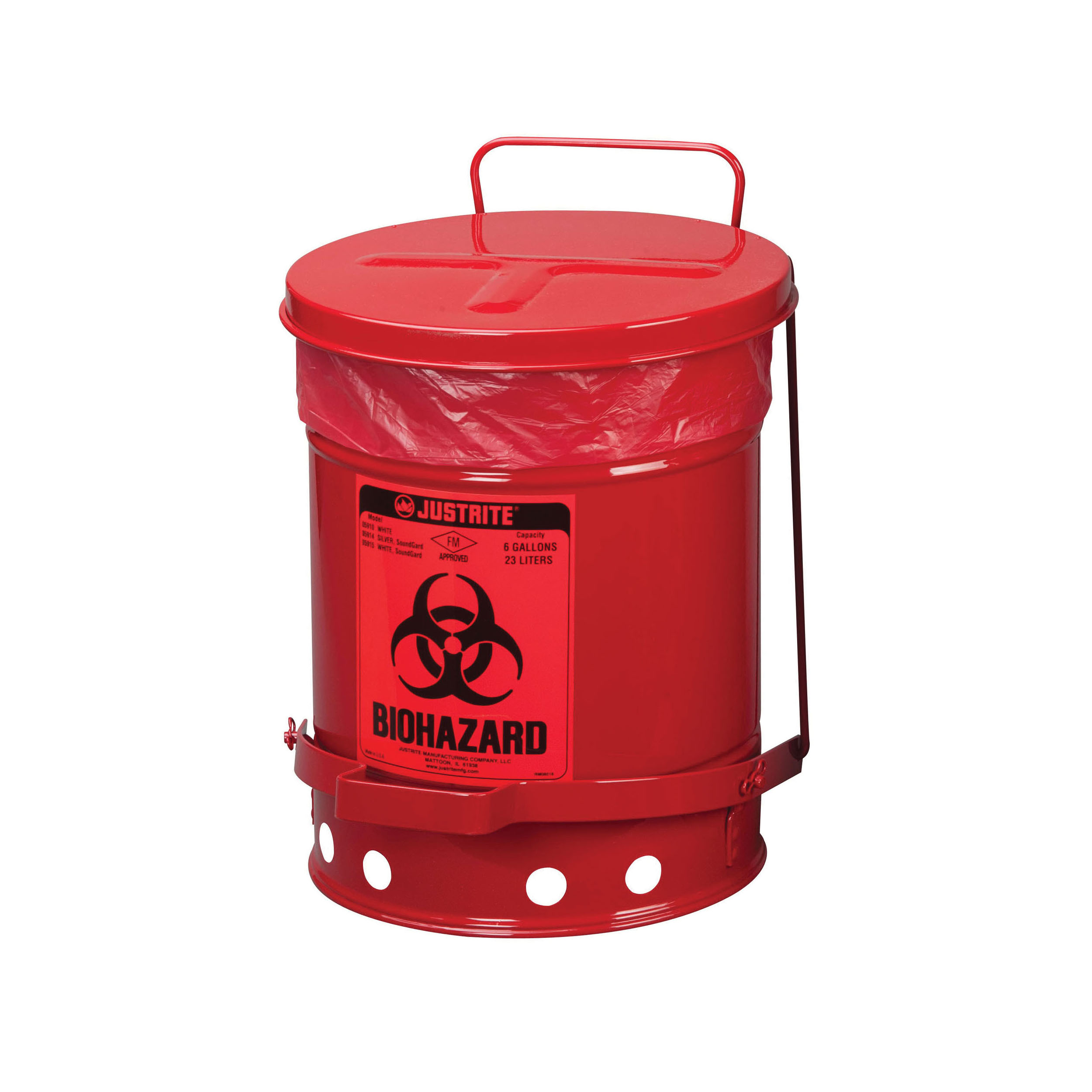 Justrite® 05910R Biohazard Waste Can, 6 gal Capacity, 15.866 in Dia, 15-7/8 in H, Steel, Red, FM Approved, TUV Approved, OSHA 29 CFR 1910.1030