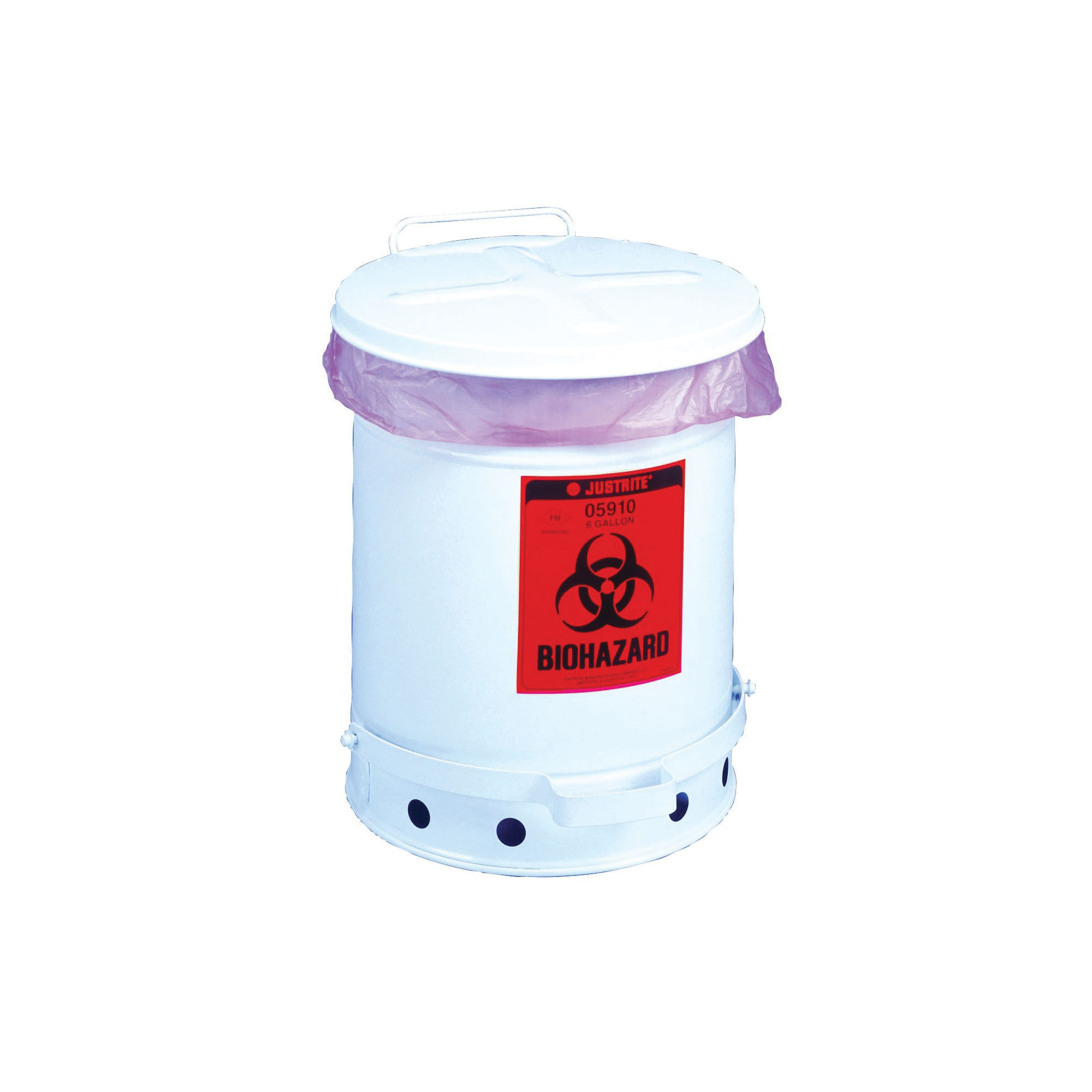 Justrite® 05930 Biohazard Waste Can, 10 gal Capacity, 13.937 in Dia, 18-1/4 in H, Galvanized Steel, White, FM Approved, TUV Approved, OSHA 29 CFR 1910.1030
