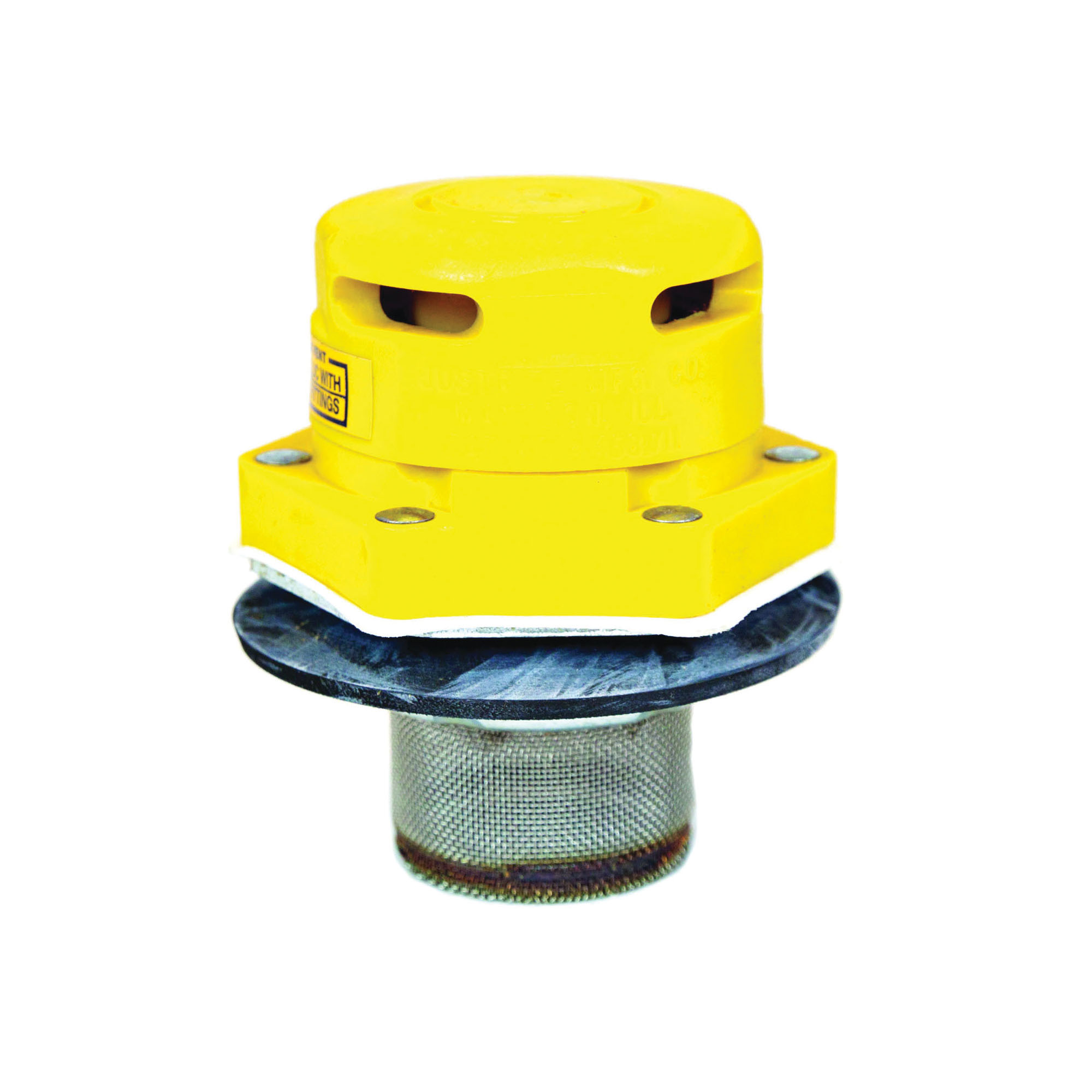 Justrite® 08005 Vertical Drum Vent, 2 in NPT/NPS Bung, Plated Steel Flame Arrestor, 31 mm H x 76 mm W x 86 mm D, For Use With 205 L Petroleum Based Solvent Drums, Polyethylene, Yellow