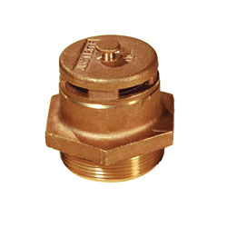 Justrite® 08101 Vertical Drum Vent, 2 in NPT/NPS Bung, Plated Steel Flame Arrestor, For Use With 205 L Petroleum Based Solvent Drums, Brass, Brass