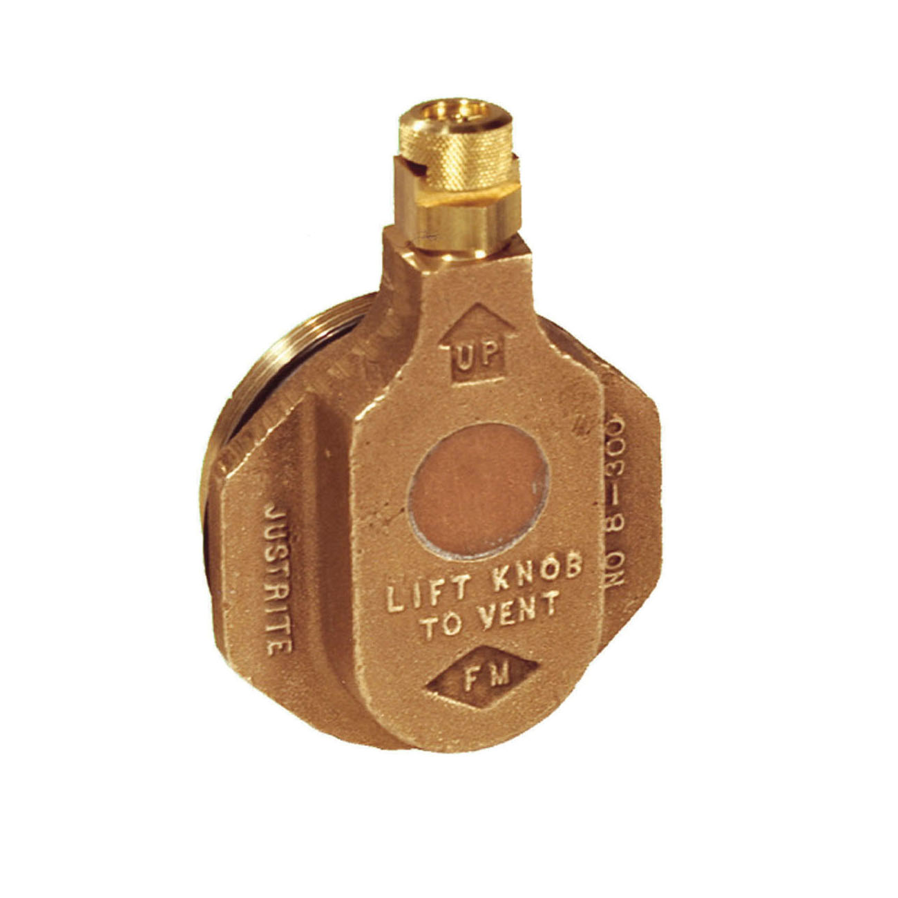 Justrite® 08300 Horizontal Drum Vent, 2 in NPT/NPS Bung, For Use With 205 L Petroleum Based Solvent Drums, Brass, Brass