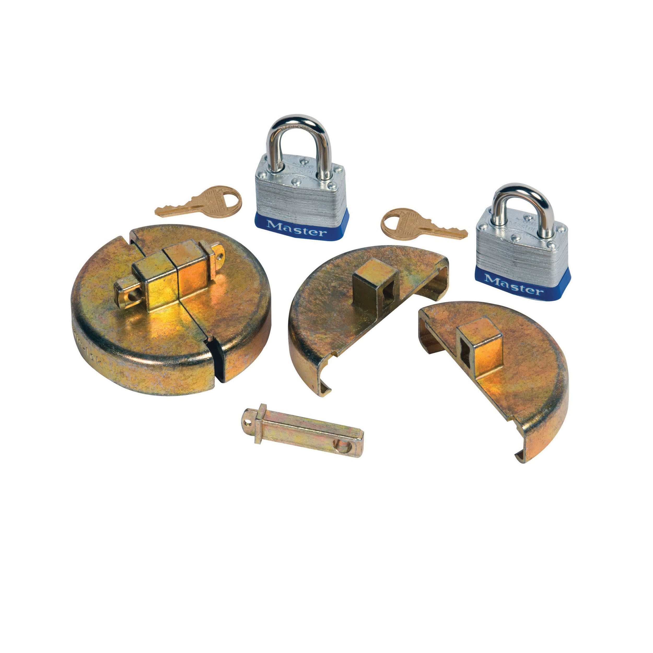 Justrite® 08511 Drum Lock Set, For Use With 55 gal Plastic Drums, Zinc, Brass