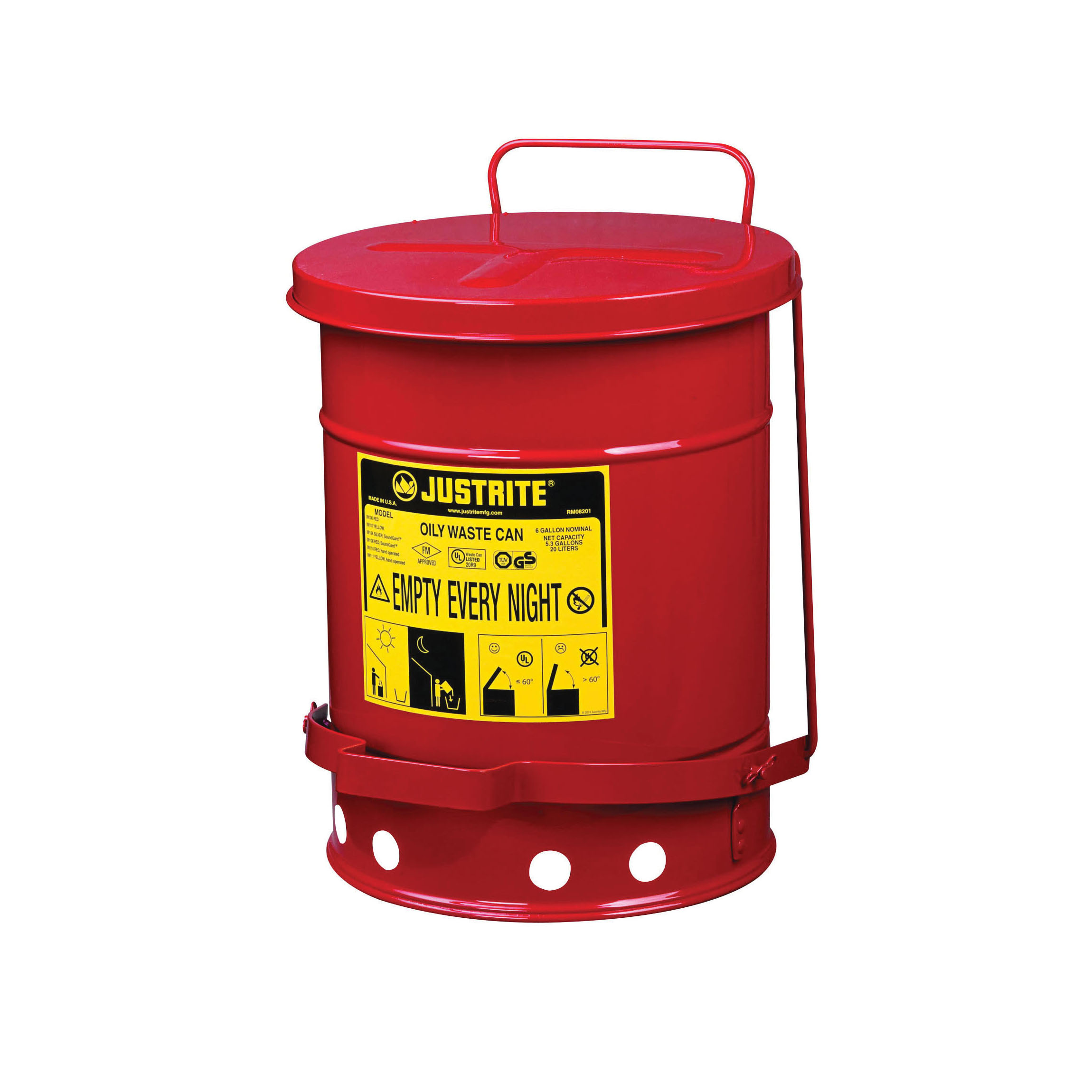 Justrite® 09100 Foot Operated Oily Waste Can With Self-Closing Cover, 6 gal Capacity, 11-7/8 in Dia x 15-7/8 in H, Steel, Red